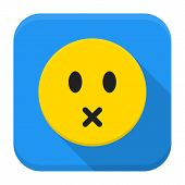 Silent Yellow Smile App Icon With Long Shadow