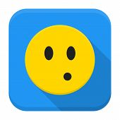 Surprised Yellow Smile App Icon With Long Shadow