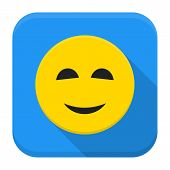 Smiling Yellow Smile App Icon With Long Shadow