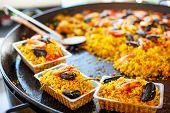 Fresh Paella Prepared On Street Market