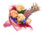 Beautiful Bouquet Of Roses, Carnations, Decorative Pineapple And Other Flowers.