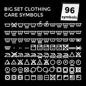 Vector Illustration Set Clothing Care Symbols on Black Background