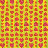 Abstract Ornament From Hearts Arranged Vertically On Striped Background
