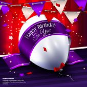Vector birthday card with balloon, bunting flags and ribbon for your text.