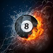 picture of pool ball  - Pool Billiards Ball in Fire  - JPG