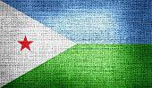 Djibouti flag on burlap fabric