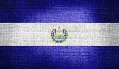 El Salvador flag on burlap fabric