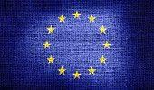 European Union flag on burlap fabric