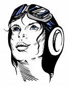 Hand-drawn Retro Female Portrait Of A Pilot.