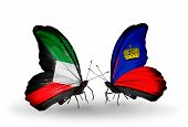 Two Butterflies With Flags On Wings As Symbol Of Relations Kuwait And Liechtenstein