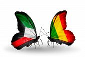 Two Butterflies With Flags On Wings As Symbol Of Relations Kuwait And Mali