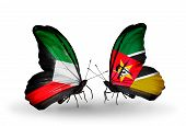 Two Butterflies With Flags On Wings As Symbol Of Relations Kuwait And Mozambique
