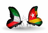Two Butterflies With Flags On Wings As Symbol Of Relations Kuwait And Togo