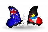 Two Butterflies With Flags On Wings As Symbol Of Relations Australia And Antigua And Barbuda