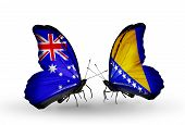 Two Butterflies With Flags On Wings As Symbol Of Relations Australia And Bosnia And Herzegovina