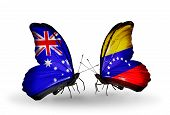 Two Butterflies With Flags On Wings As Symbol Of Relations Australia And Venezuela