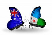Two Butterflies With Flags On Wings As Symbol Of Relations Australia And Djibouti