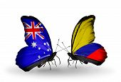 Two Butterflies With Flags On Wings As Symbol Of Relations Australia And Columbia