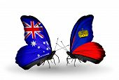 Two Butterflies With Flags On Wings As Symbol Of Relations Australia And Liechtenstein