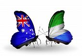 Two Butterflies With Flags On Wings As Symbol Of Relations Australia And Sierra Leone