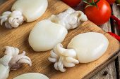 image of cuttlefish  - Raw babies cuttlefish on a cutting board with tomatoes and chili peppers closeup - JPG