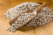 Rustic scoop with sunflower seeds on a wooden background