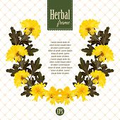 Herbarium wreath of natural yellow flowers