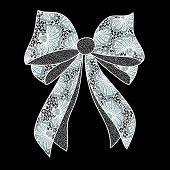 White Lacy Bow On Black Background