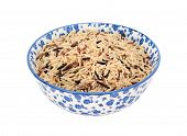 Mixed Rice Grains In A Blue And White China Bowl