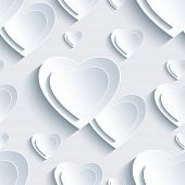 Grey Valentine's Day Seamless Pattern With 3D Hearts