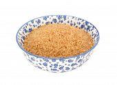 Demerara Sugar In A Blue And White China Bowl