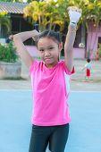 Girl Play Badminton