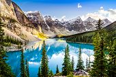 Scenic View Of Moraine Lake And Mountain Range, Alberta, Canada