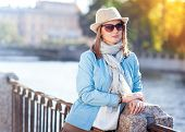 Beautiful Young Woman In Hat, Sunglasses And Scarf In The City
