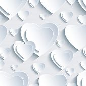 Grey Seamless Pattern With 3D Hearts For Day Valentine