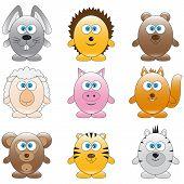 image of animated cartoon  - Set of vector different funny cartoon animals - JPG