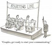 picture of wifes  - Cartoon of three husband and three wives at a starting line - JPG