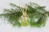 picture of diffusion  - Fragrance sticks or bottle Scent diffuser with sprig fir on wooden background - JPG