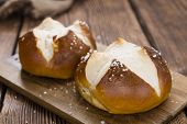 stock photo of pretzels  - Salty Pretzel Roll  - JPG