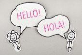 Hello Speaking English and Spanish
