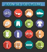 Vector Set Of Icons On Cycling