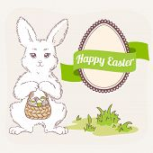 stock photo of easter eggs bunny  - Happy Easter vector set - JPG
