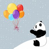 Dots background with colorful baloons and panda.