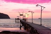 stock photo of nightfall  - Nightfall by the Sea At the End of the Day  - JPG