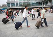 stock photo of overpopulation  - Guangzhou railway station passenger in China   - JPG