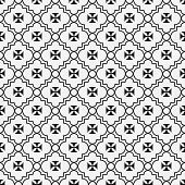 picture of maltese-cross  - Black and White Maltese Cross Symbol Tile Pattern Repeat Background that is seamless and repeats - JPG