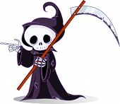 Cartoon Grim Reaper apontando