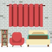 stock photo of flat-bed  - Flat Design Single Bed With Sofa And Bookcase Vector Illustration - JPG