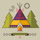 image of wigwams  - Indian Americans vector illustration picture with wigwam fir tree bonfire animal skull and ribbon - JPG