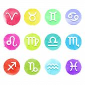 pic of pisces horoscope icon  - Watercolor vector horoscope icon set white astrology signs on aquarelle colorful circles - JPG